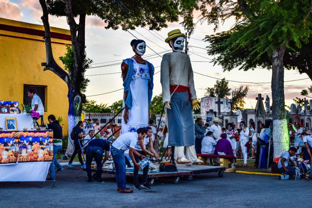 Preparation for Day of the Dead skull parade in Merida, Mexico