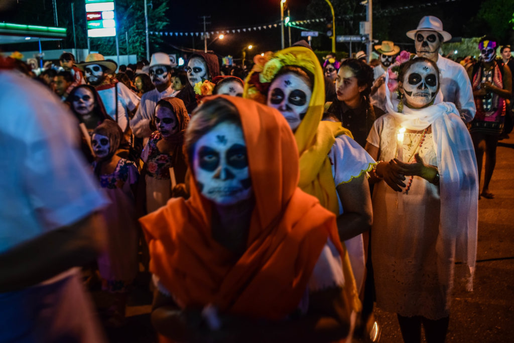 Day of the Dead skull parade in Merida, Mexico