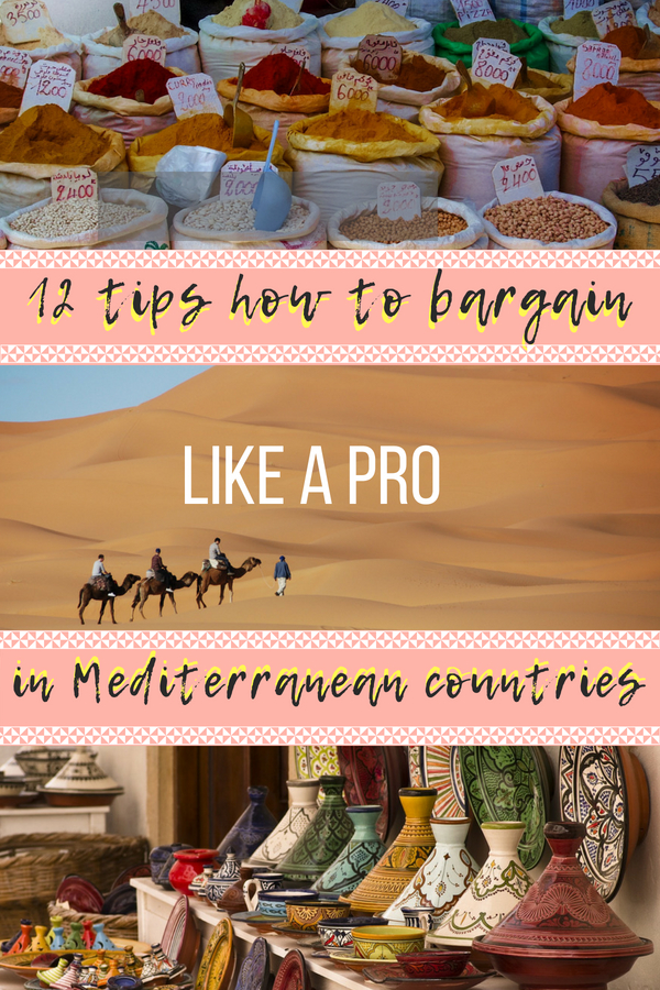 Shopping in Moroccan medinas, Turkish street markets or anywhere else where you have to bargain for the best deals will be a piece of cake! Here are 12 tips on how to bargain like a PRO in Mediterranean countries, to master the art of shopping and bargaining. #shopping #bargaining #morocco #turkey