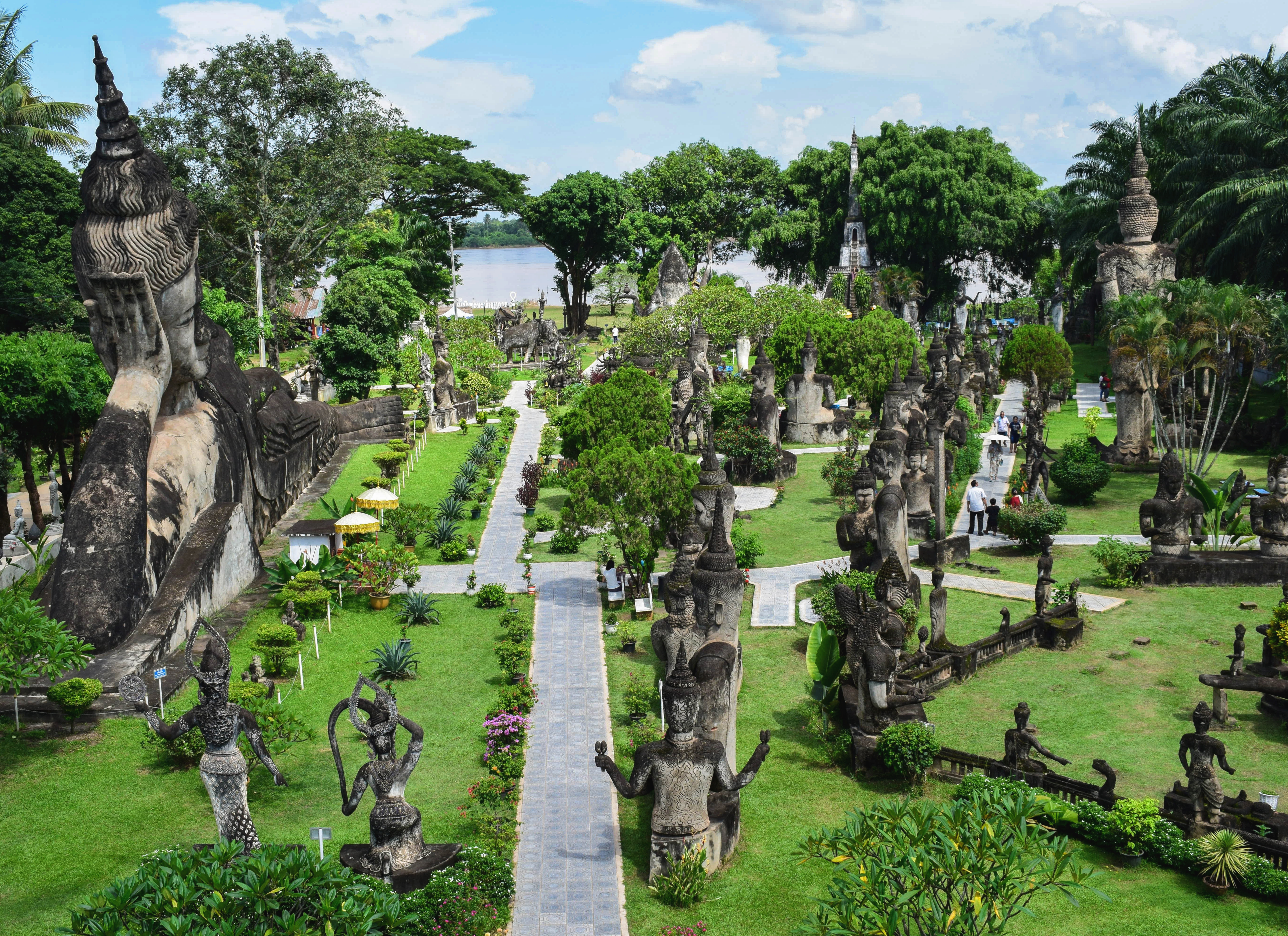 Visiting Buddha Park in Vientiane Laos by public bus