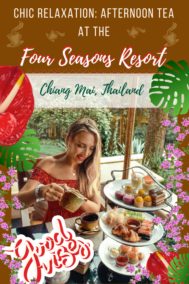 Discover an epic Chic Relaxation in Chiang Mai Thailand in a form of an Afternoon Tea at the Four Seasons Resort Chiang Mai. Tea drinking traditions in Asia are possibly the best in the world so Four Seasons is giving a nice and delicious insight into that. If you're a foodie, this is one of the best things to do in Chiang Mai. #fourseasons #chiangmai #thailand #hightea