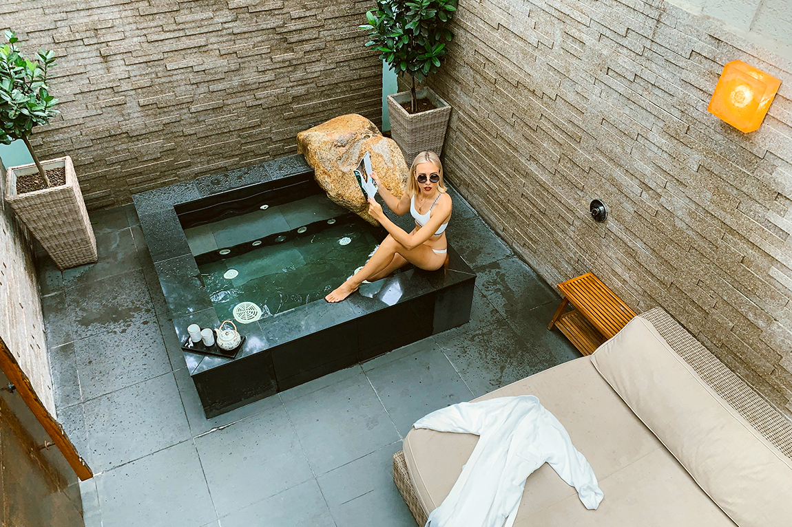 A private jacuzzi in the Onsen Suite